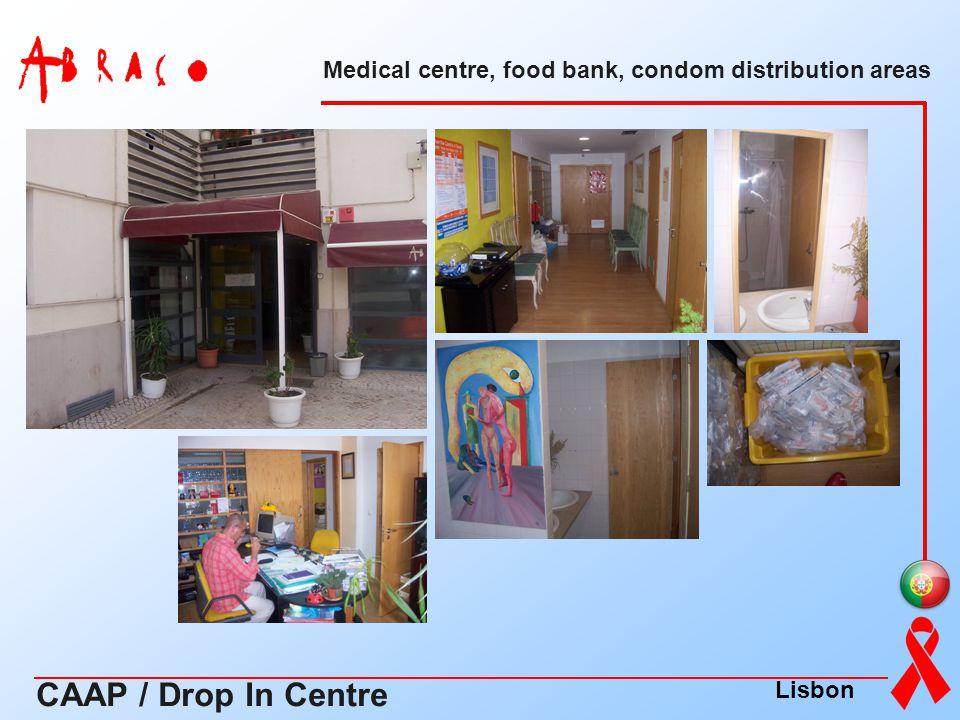 Medical centre, food bank, condom distribution areas