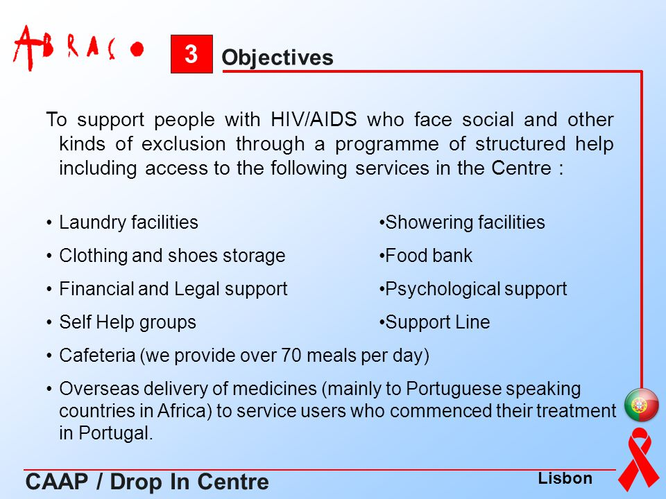 3 CAAP / Drop In Centre Objectives