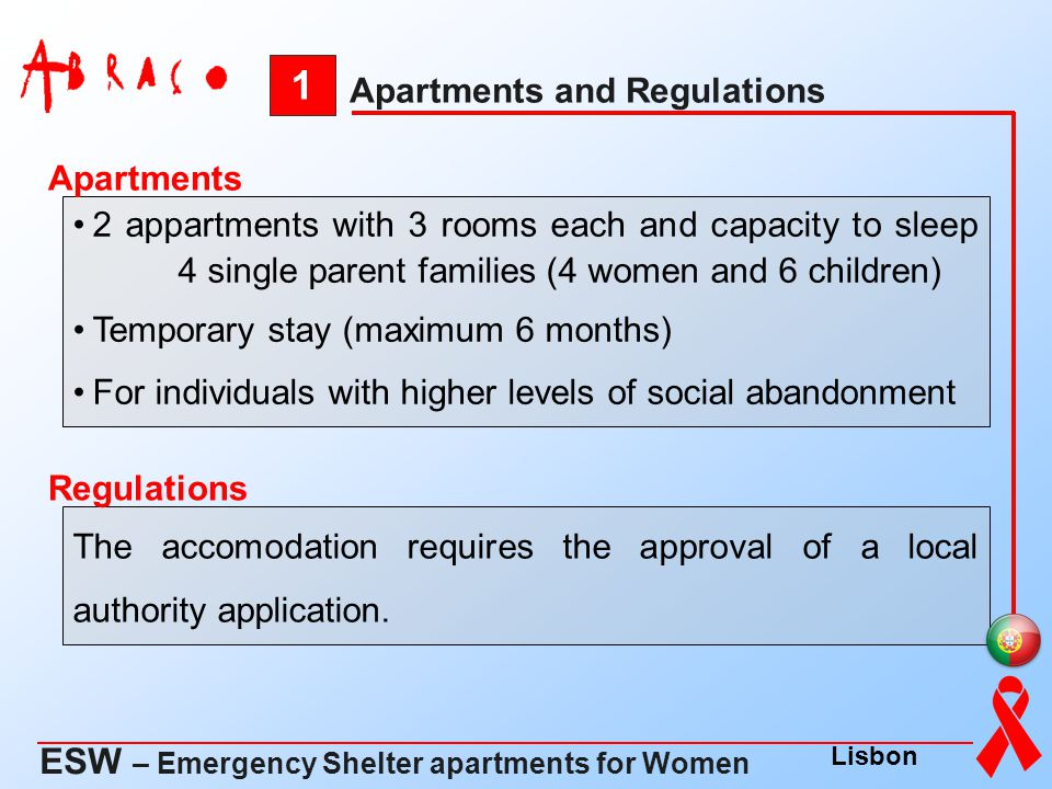 1 ESW – Emergency Shelter apartments for Women