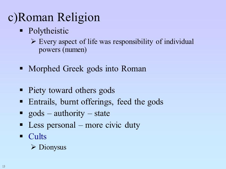 Roman Religion Polytheistic Morphed Greek gods into Roman
