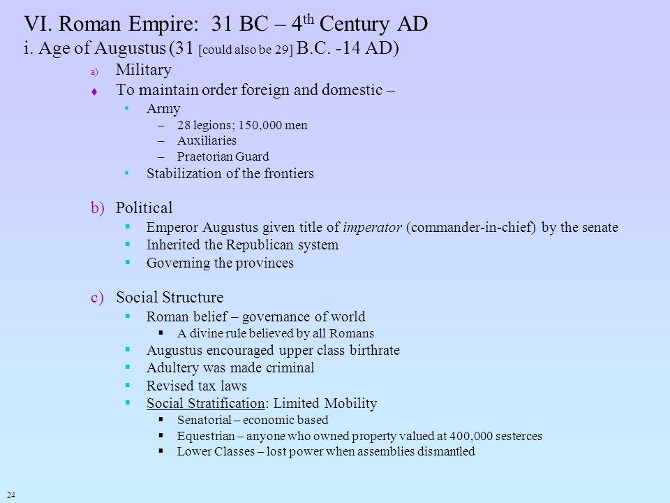 VI. Roman Empire: 31 BC – 4th Century AD