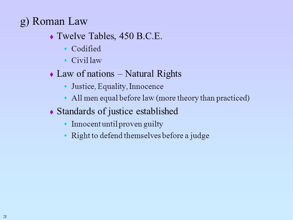 g) Roman Law Twelve Tables, 450 B.C.E. Law of nations – Natural Rights
