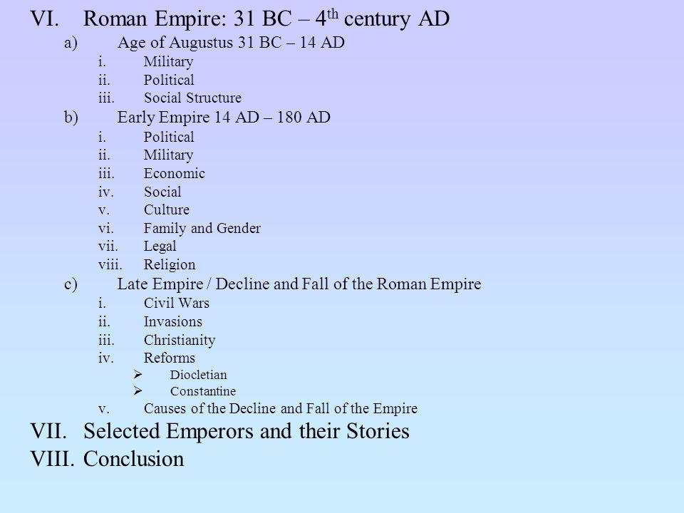 Roman Empire: 31 BC – 4th century AD