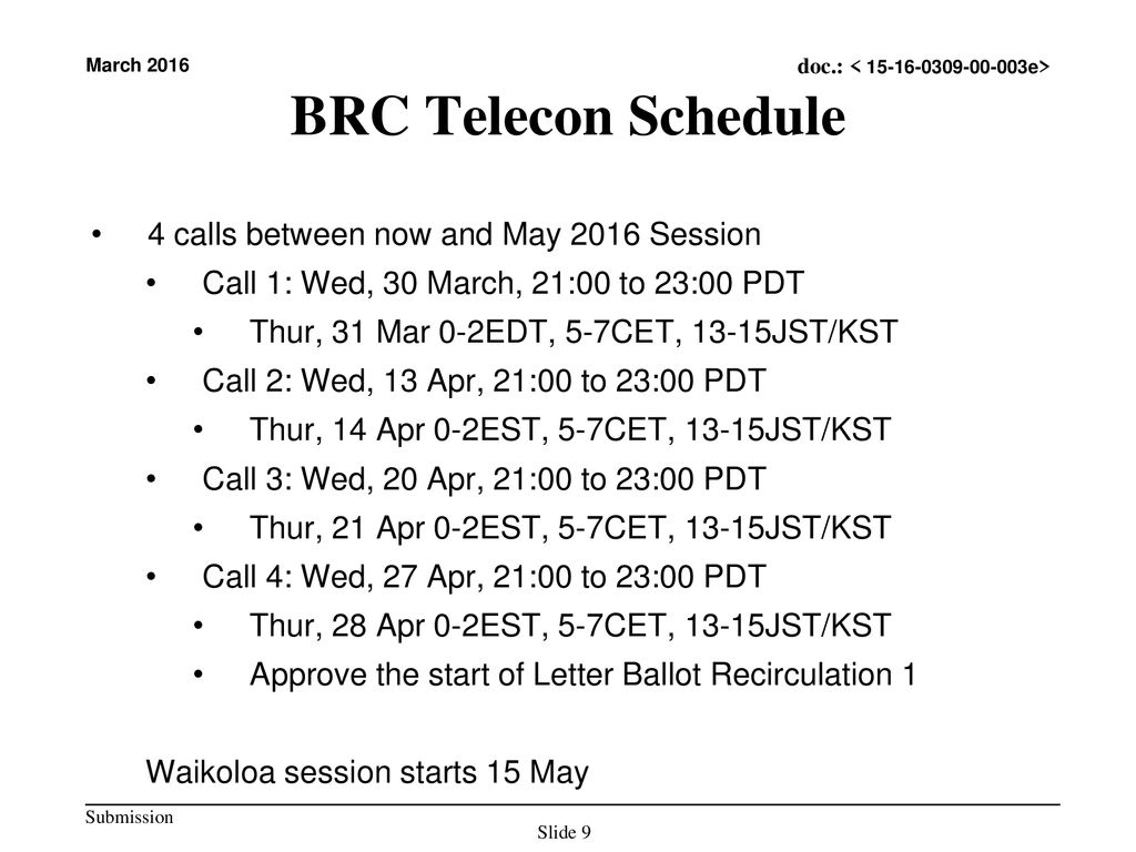 BRC Telecon Schedule 4 calls between now and May 2016 Session