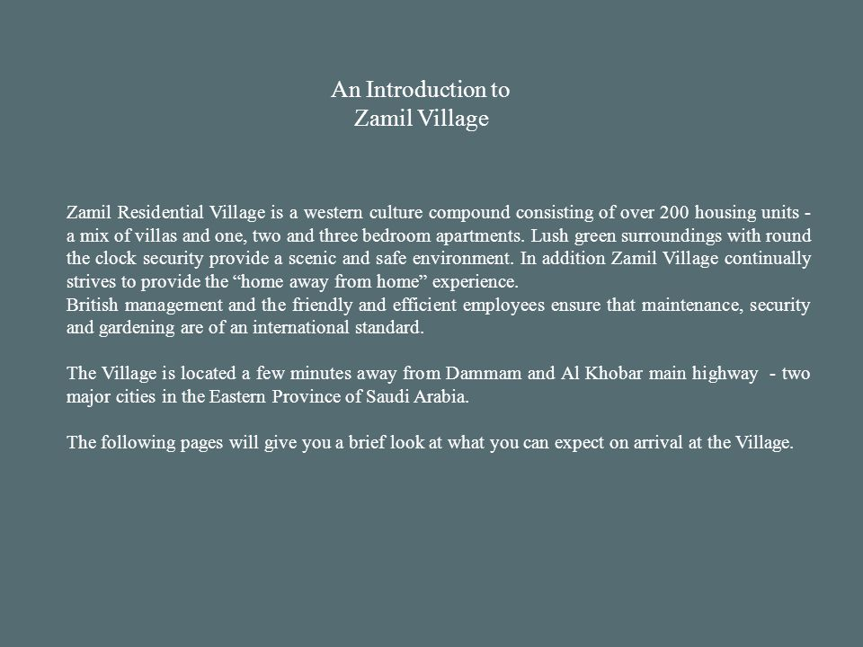 An Introduction to Zamil Village