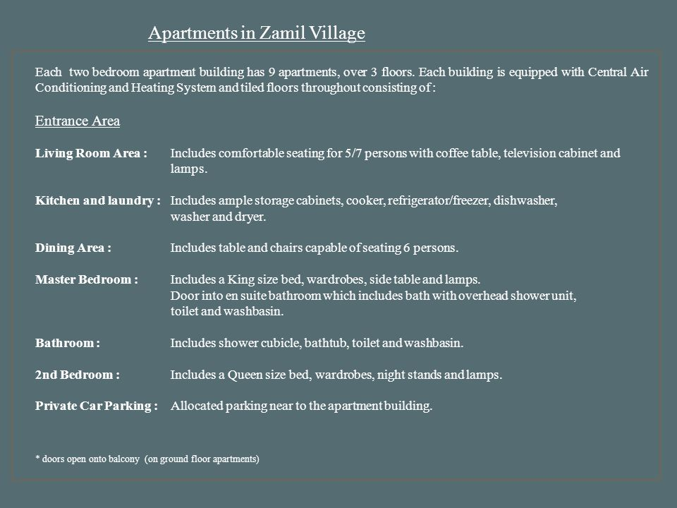 Apartments in Zamil Village