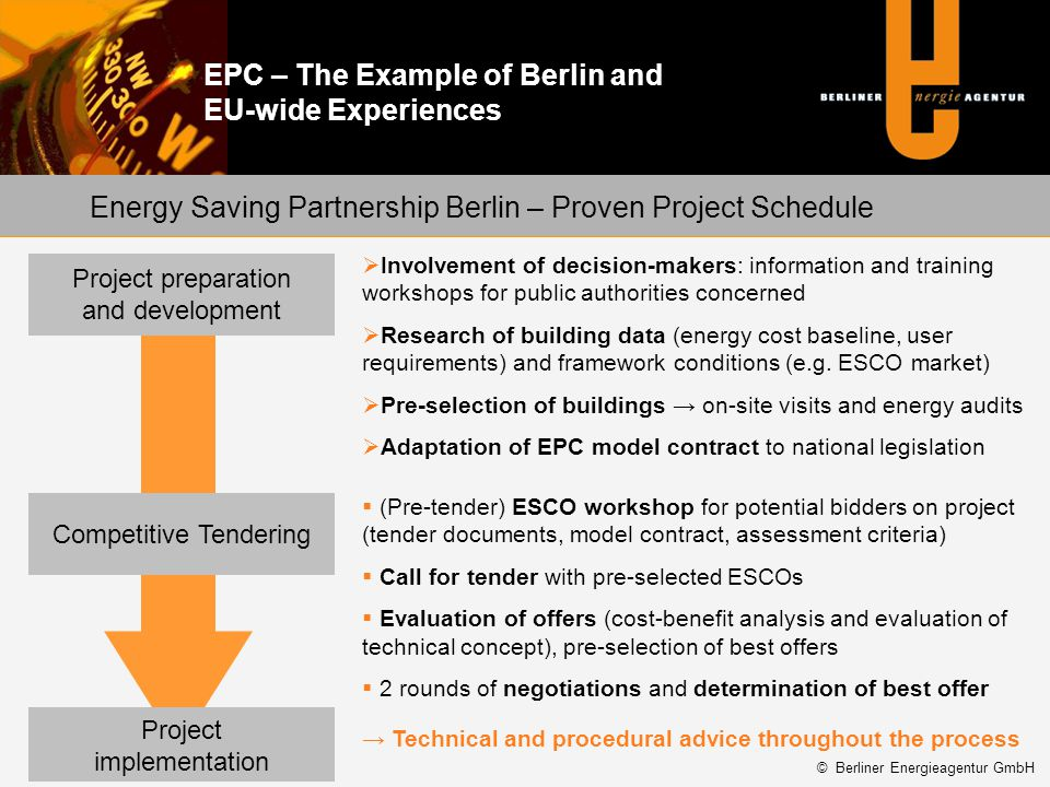 Energy Saving Partnership Berlin – Proven Project Schedule