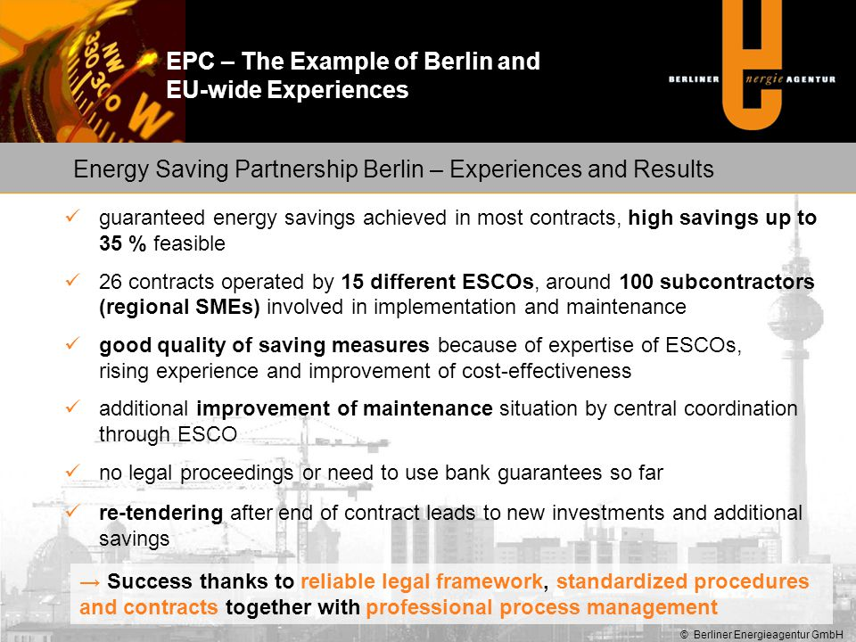 Energy Saving Partnership Berlin – Experiences and Results