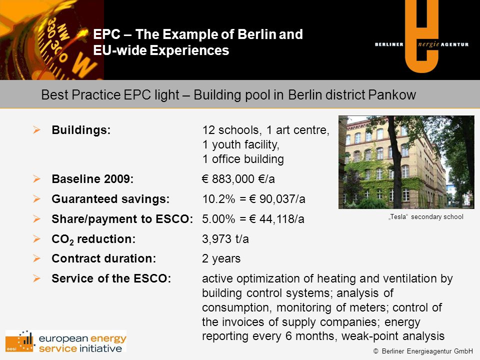 Best Practice EPC light – Building pool in Berlin district Pankow