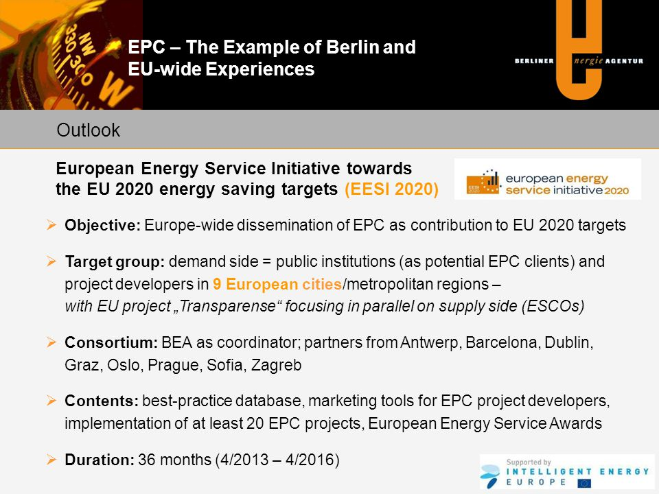 Outlook European Energy Service Initiative towards