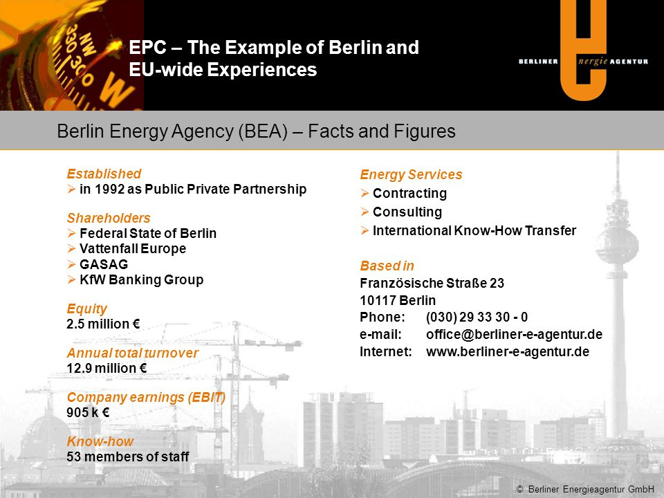 Berlin Energy Agency (BEA) – Facts and Figures