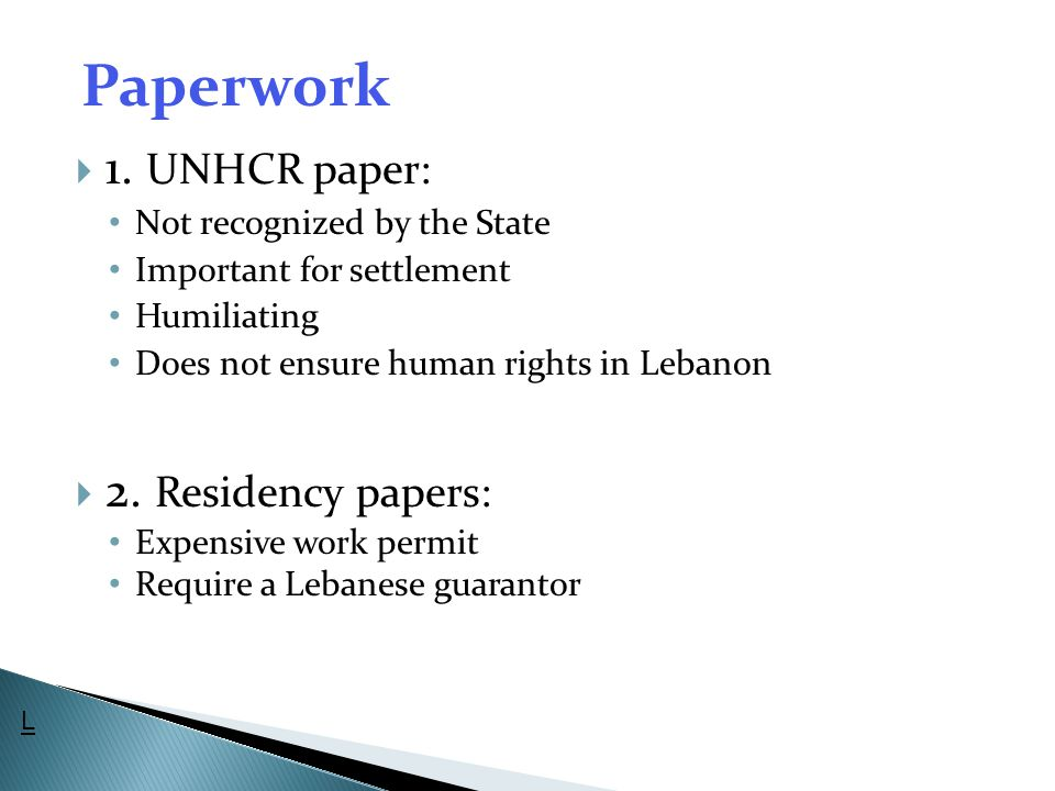 Paperwork 1. UNHCR paper: 2. Residency papers: