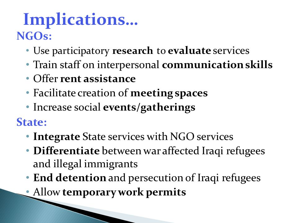 Implications… NGOs: State: