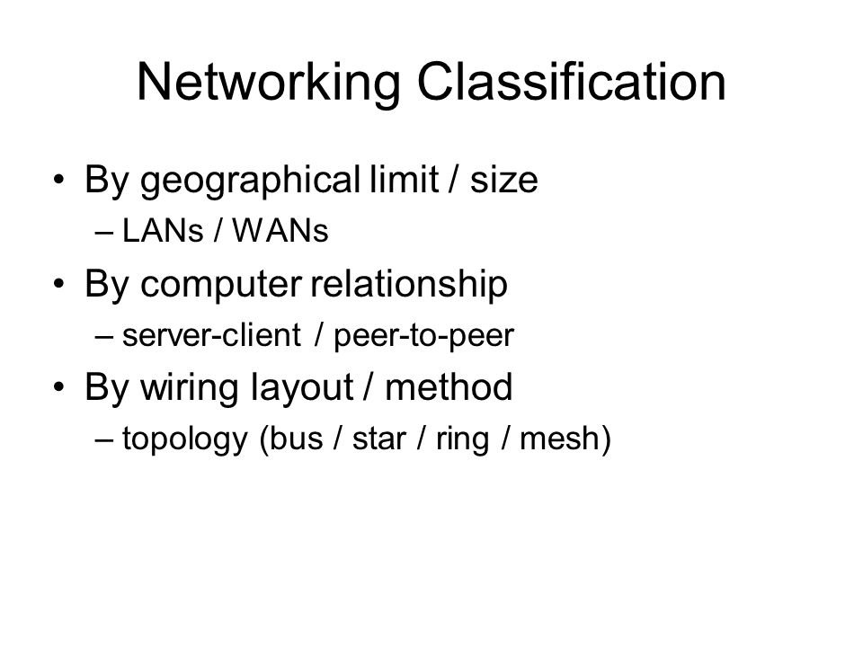 Networking Classification