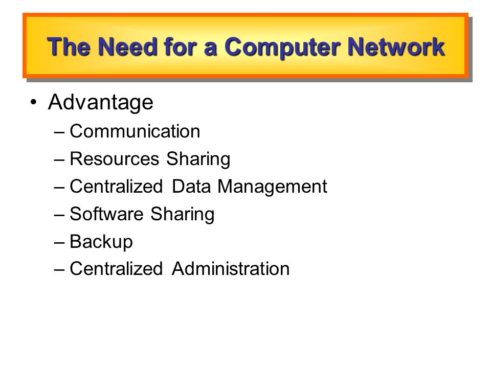 The Need for a Computer Network