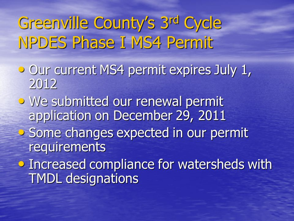 Greenville County's 3rd Cycle NPDES Phase I MS4 Permit