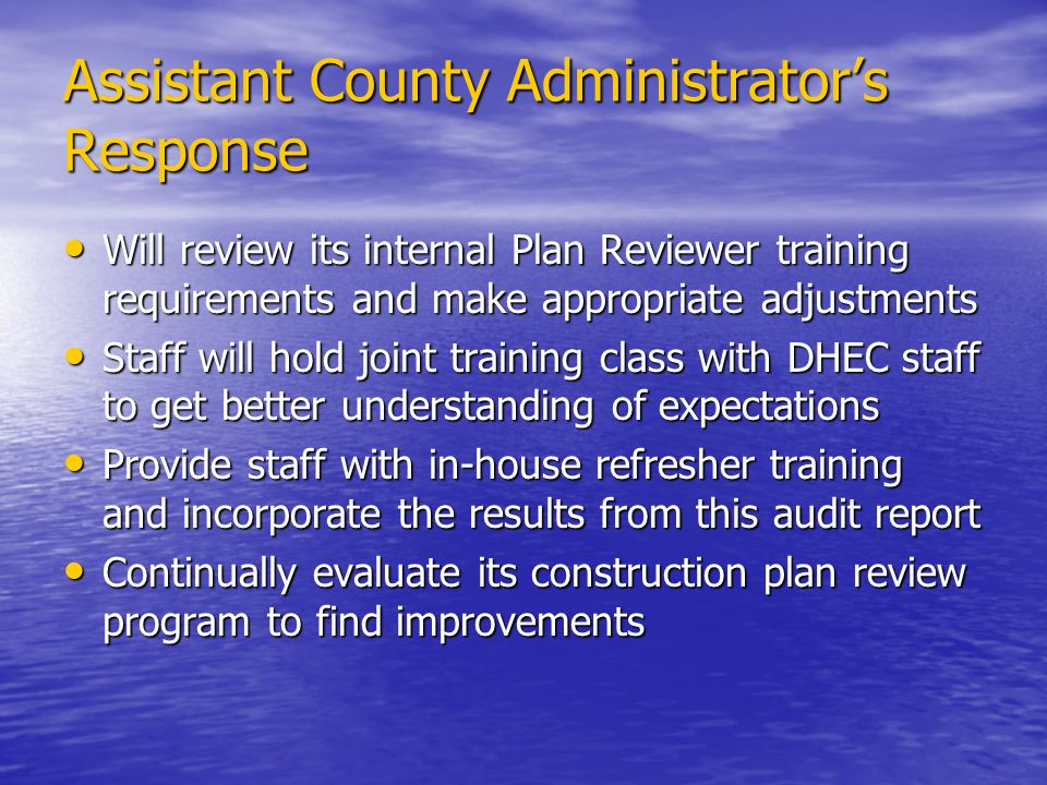 Assistant County Administrator's Response