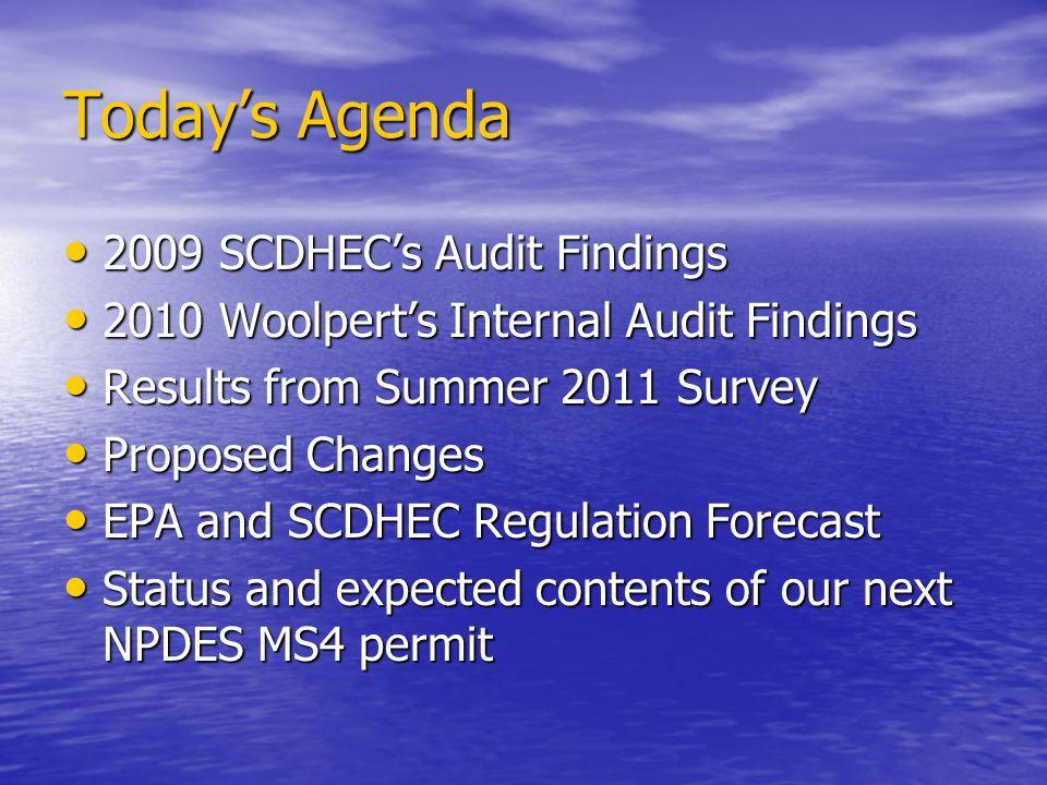 Today's Agenda 2009 SCDHEC's Audit Findings