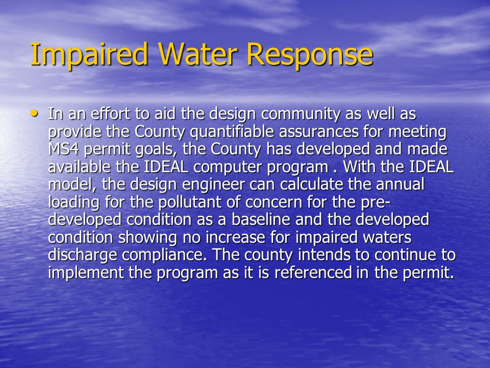 Impaired Water Response
