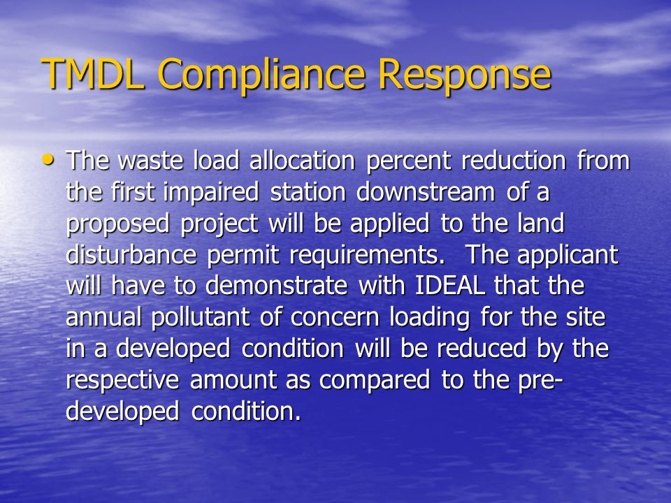 TMDL Compliance Response