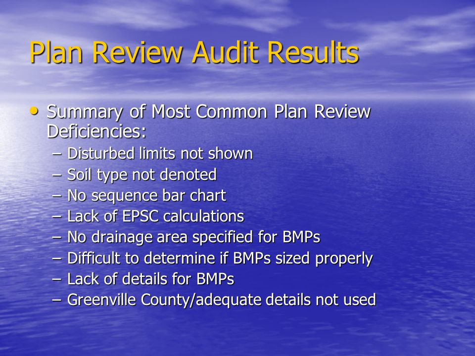 Plan Review Audit Results