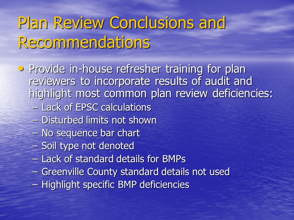 Plan Review Conclusions and Recommendations
