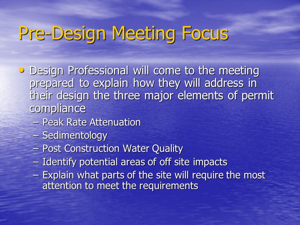 Pre-Design Meeting Focus