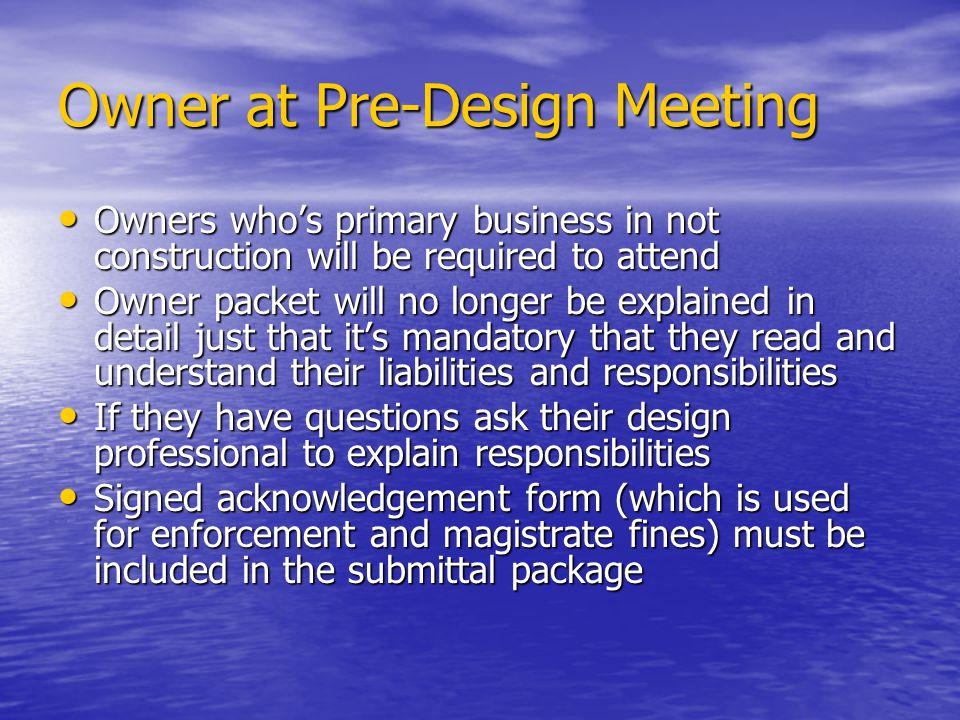 Owner at Pre-Design Meeting