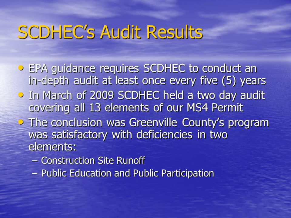 SCDHEC's Audit Results