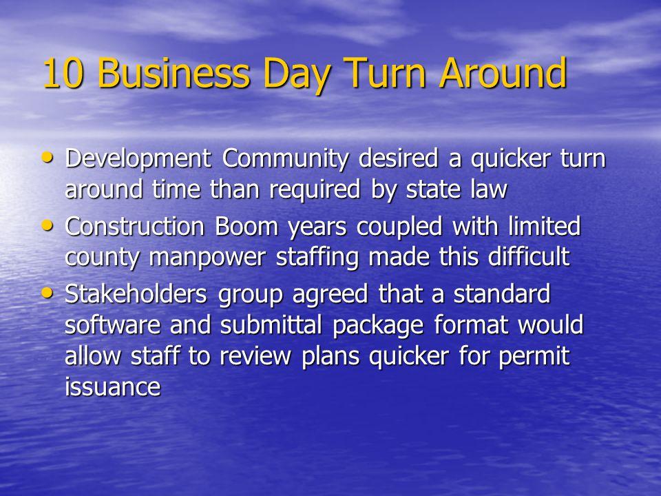 10 Business Day Turn Around
