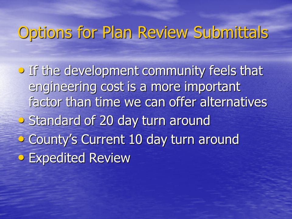 Options for Plan Review Submittals