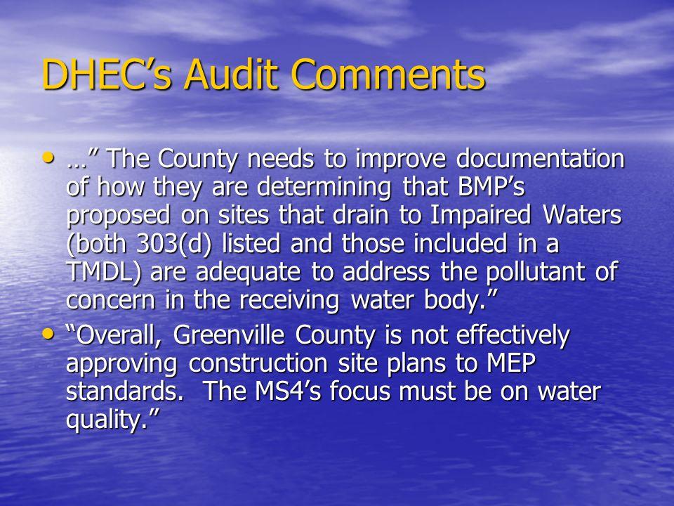 DHEC's Audit Comments