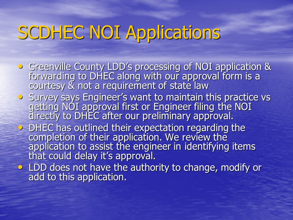 SCDHEC NOI Applications