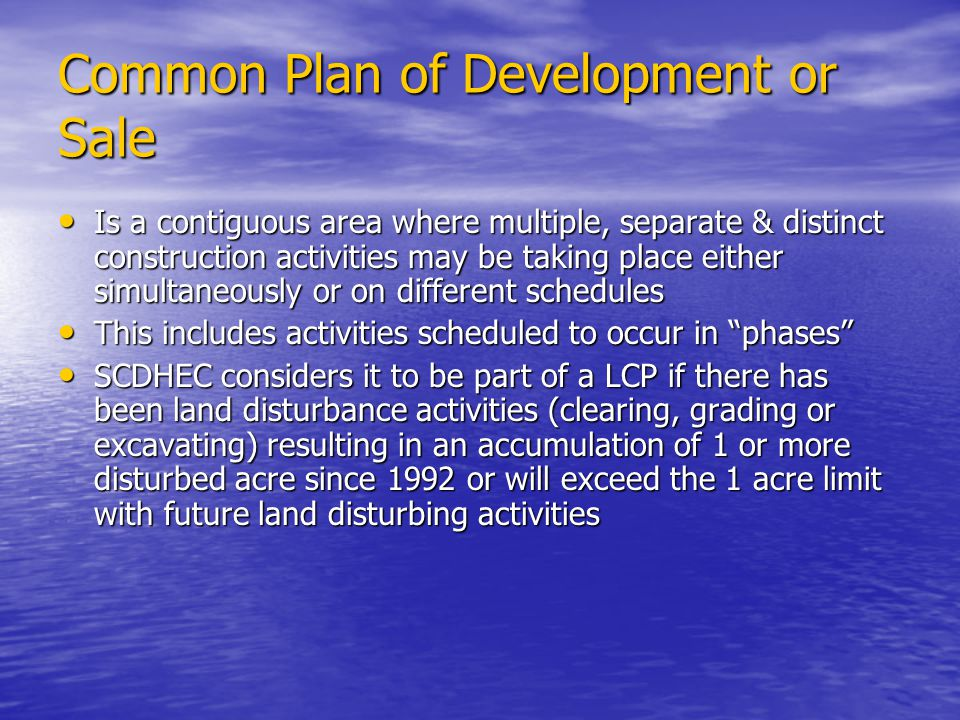 Common Plan of Development or Sale