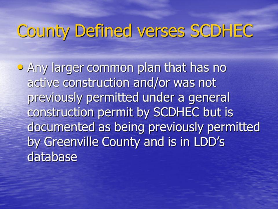 County Defined verses SCDHEC