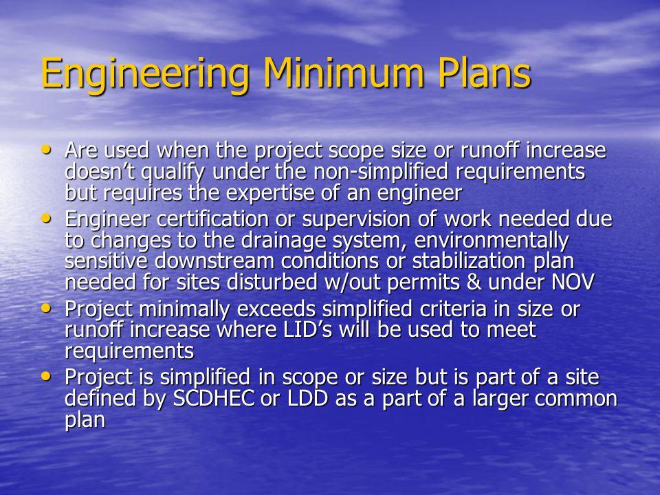 Engineering Minimum Plans