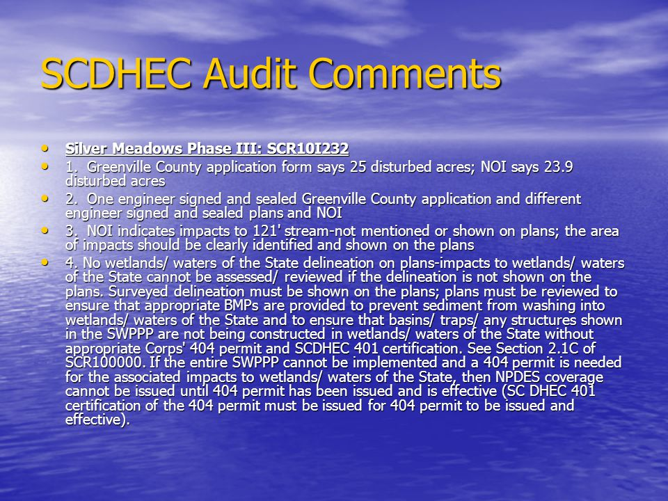 SCDHEC Audit Comments Silver Meadows Phase III: SCR10I232