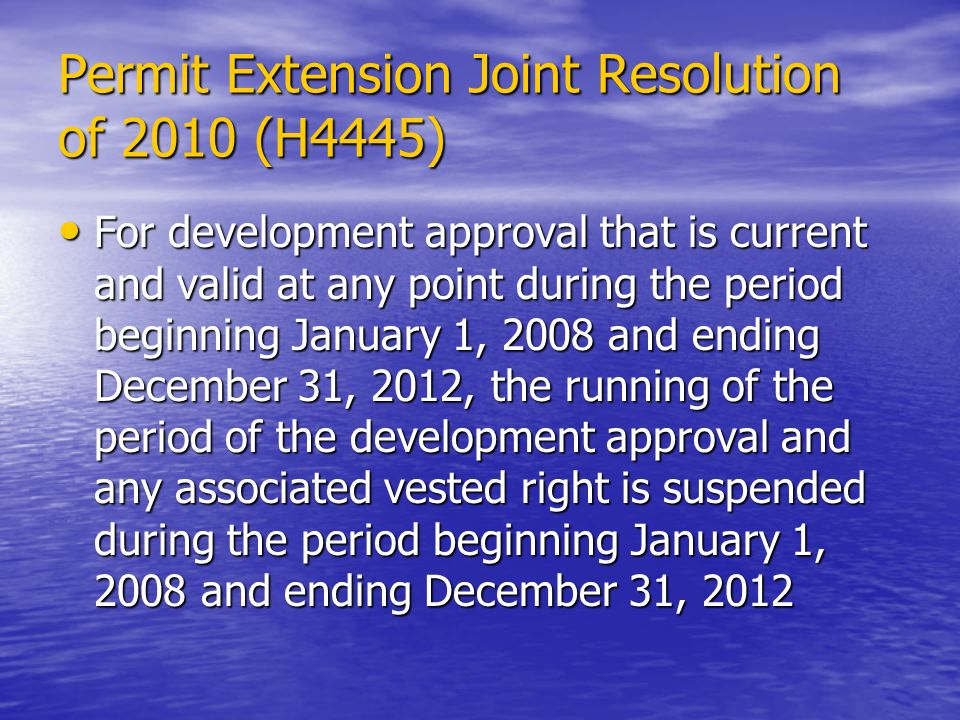 Permit Extension Joint Resolution of 2010 (H4445)