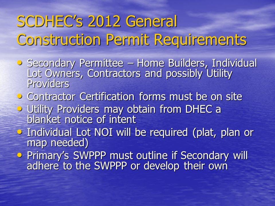 SCDHEC's 2012 General Construction Permit Requirements