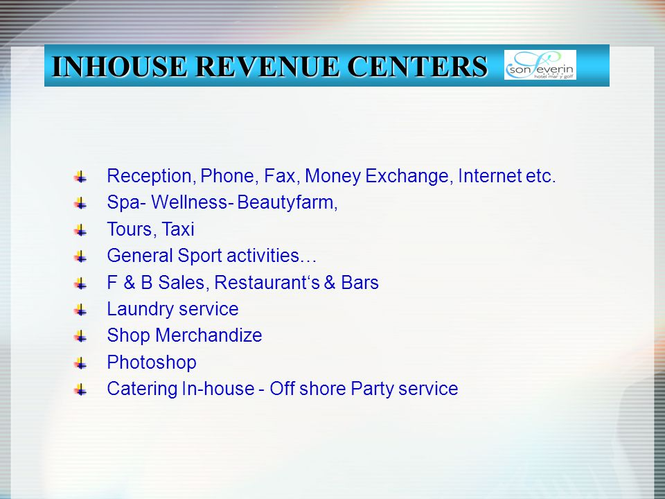 INHOUSE REVENUE CENTERS