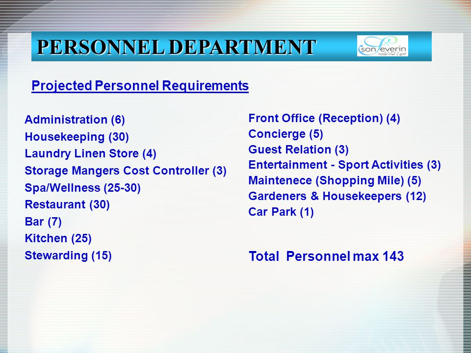 PERSONNEL DEPARTMENT Projected Personnel Requirements