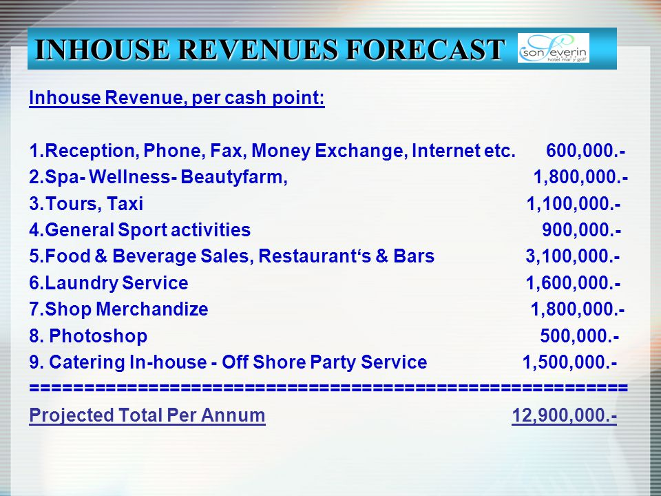 INHOUSE REVENUES FORECAST