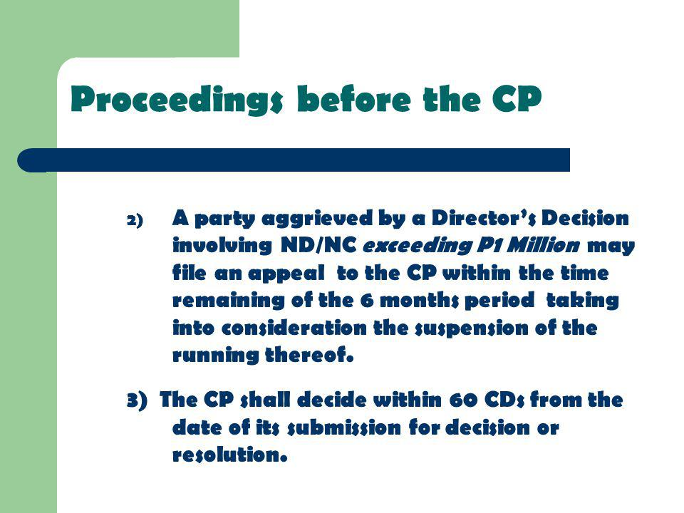 Proceedings before the CP