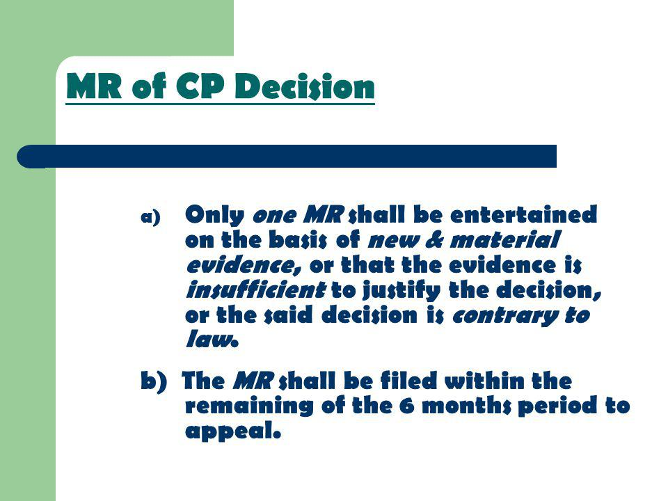 MR of CP Decision