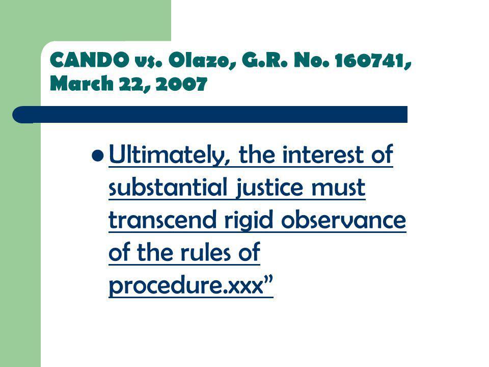 CANDO vs. Olazo, G.R. No. 160741, March 22, 2007