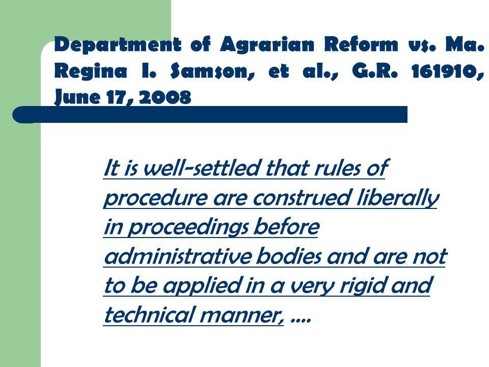 Department of Agrarian Reform vs. Ma. Regina I. Samson, et al. , G. R