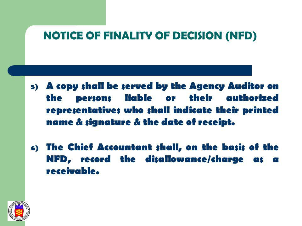 NOTICE OF FINALITY OF DECISION (NFD)