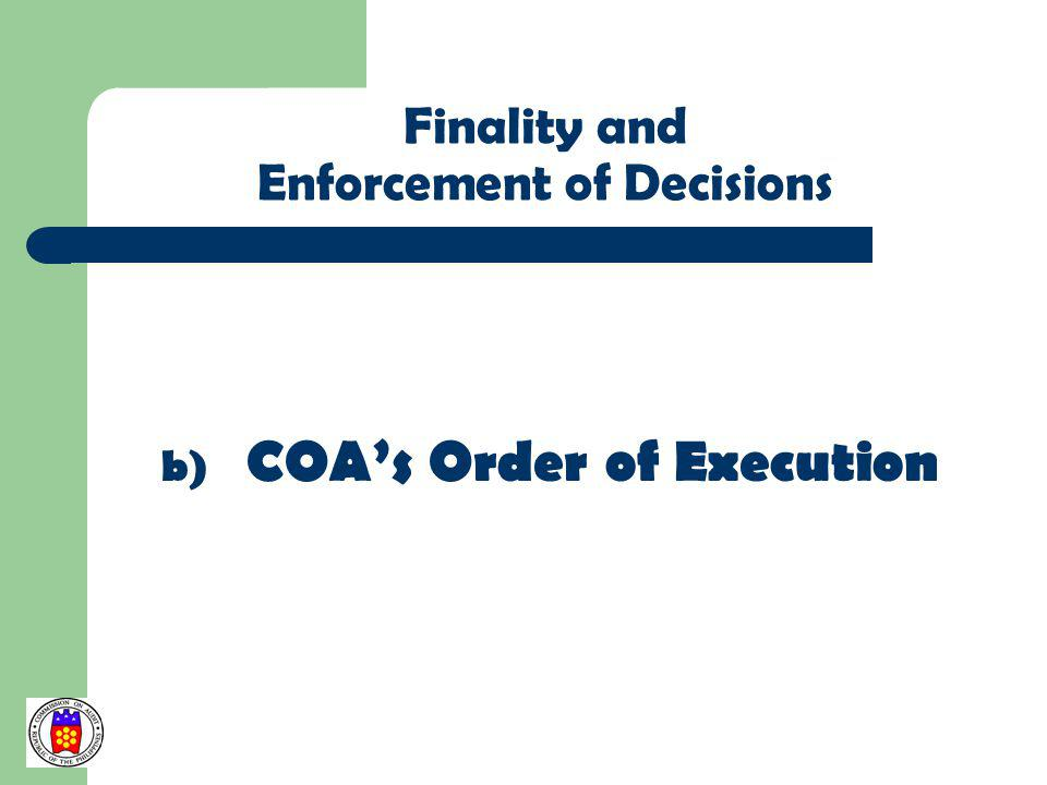 COA's Order of Execution