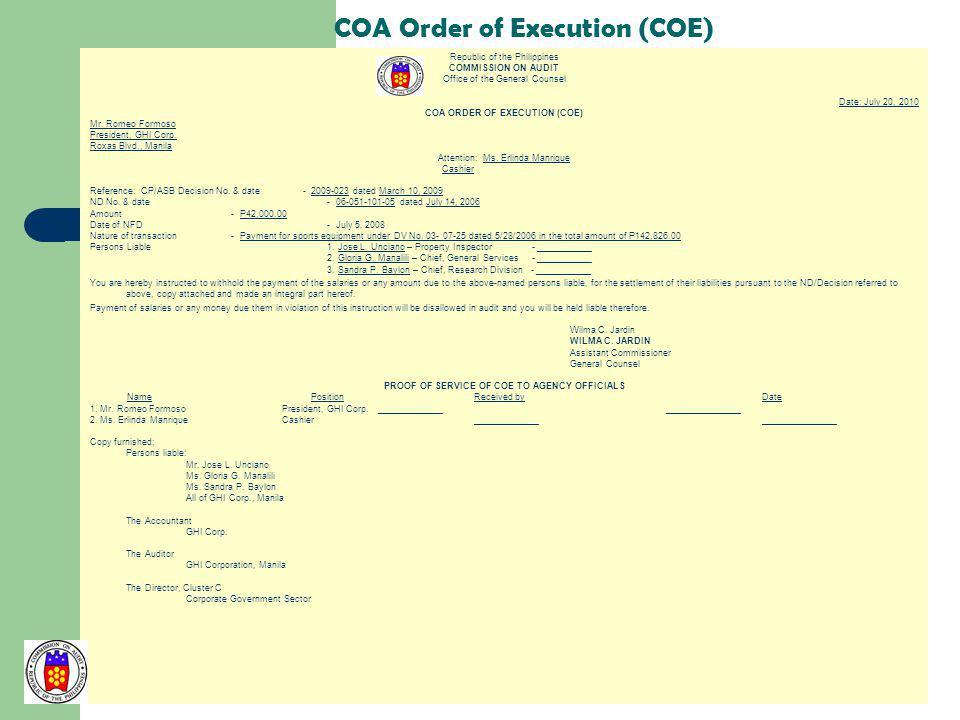 COA Order of Execution (COE)