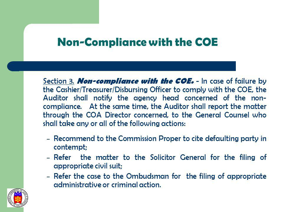 Non-Compliance with the COE